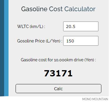 GASOLINE COST CALUCLATOR